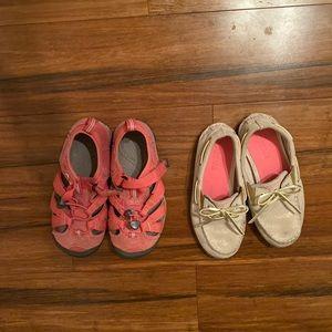 2 pair sz 13 girls shoes! sperrys/keens